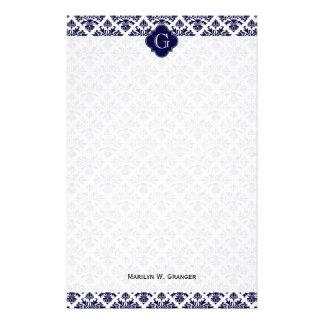 Monograma blanco azul de Quatrefoil de la marina Papelería