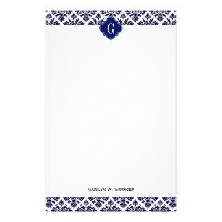 Monograma blanco azul de Quatrefoil de la marina Papeleria De Diseño