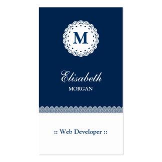 Monograma blanco azul del cordón del desarrollador tarjetas de negocios
