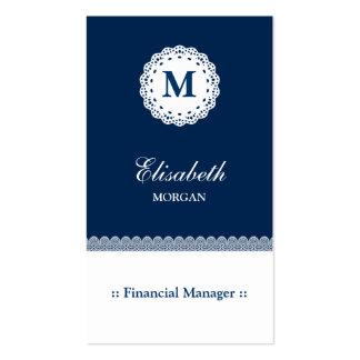 Monograma blanco azul del cordón del encargado tarjetas de visita