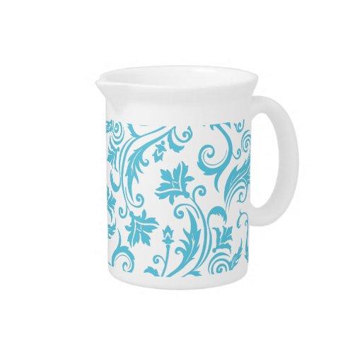 Monograma blanco azul del damasco jarrón