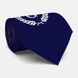 Monograma blanco de la inicial de la guirnalda del corbata personalizada