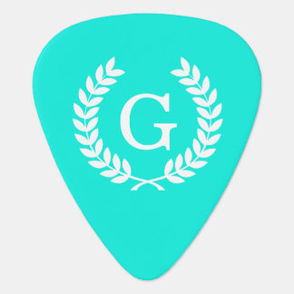 Monograma blanco de la inicial de la guirnalda del púa de guitarra