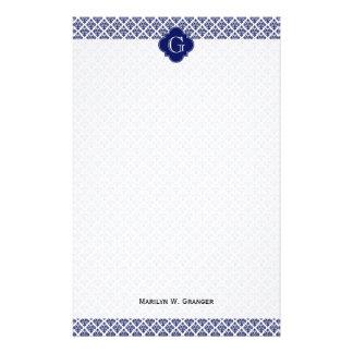 Monograma blanco de la marina de guerra del papeleria personalizada