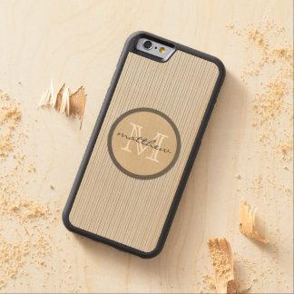 monograma blanco de la raya del Pin del marrón Funda De iPhone 6 Bumper Arce