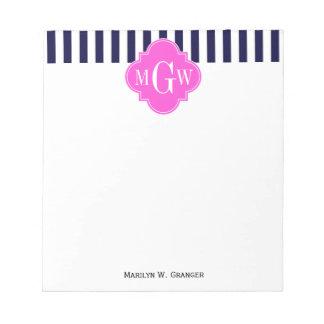 Monograma blanco de Quatrefoil 3 de las rosas Libreta Para Notas