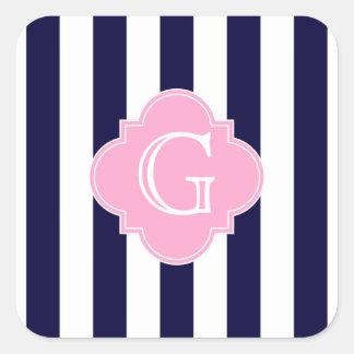 Monograma blanco de Quatrefoil del rosa de la raya Calcomanías Cuadradass Personalizadas