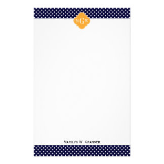 Monograma blanco del cantalupo 3 de los lunares de papelería