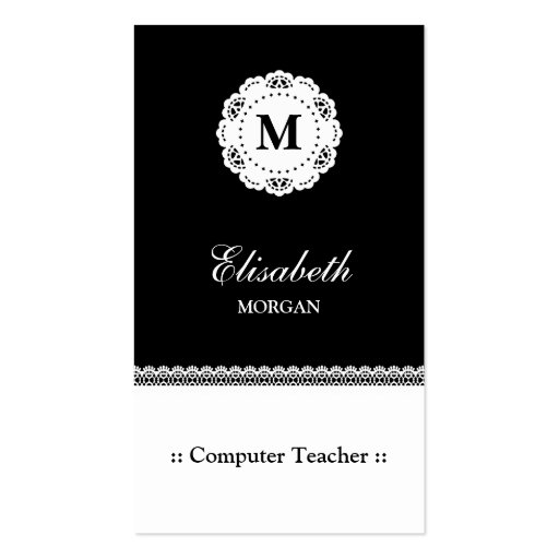 Monograma blanco del cordón del negro del profesor tarjetas de visita