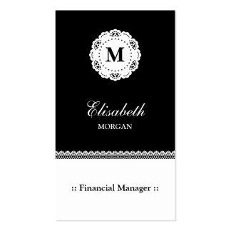 Monograma blanco del cordón del negro financiero tarjetas de visita