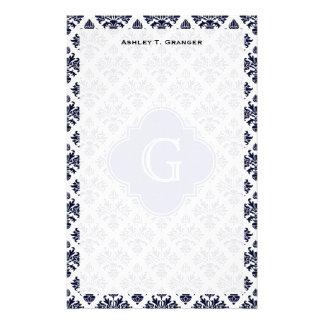 Monograma blanco del damasco #3 de los azules  papeleria