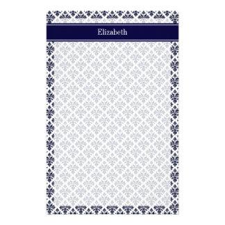 Monograma blanco del nombre de la marina de guerra papelería personalizada