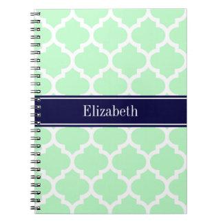 Monograma blanco del nombre de los azules marinos cuadernos