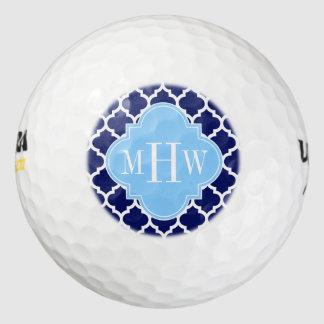 Monograma blanco del nombre del azul de cielo de pack de pelotas de golf