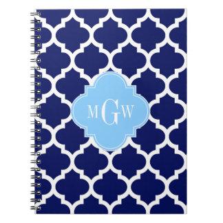 Monograma blanco del nombre del azul de cielo de spiral notebooks