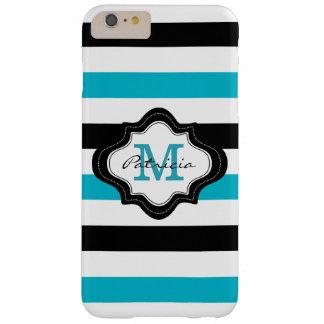 Monograma blanco elegante del personalizado de las funda para iPhone 6 plus barely there