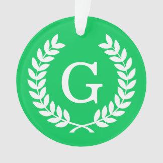 Monograma blanco esmeralda de la inicial de la