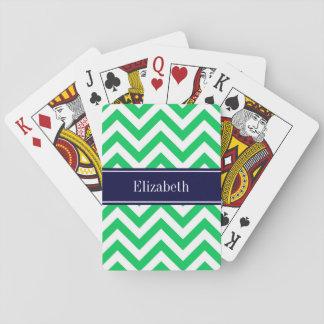 Monograma blanco esmeralda del nombre de los baraja de póquer