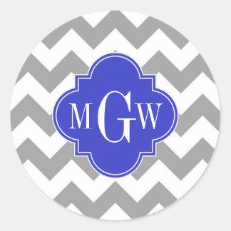 Monograma blanco gris de Quatrefoil 3 del azul de Pegatina Redonda