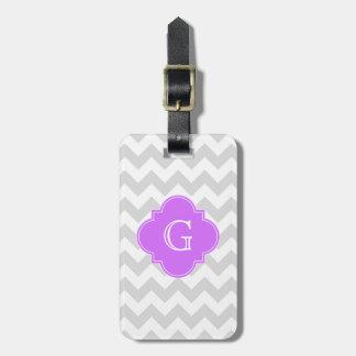 Monograma blanco gris de Quatrefoil de la lila de Etiquetas Maleta