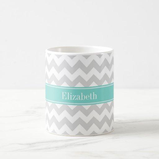 Monograma blanco gris del nombre de la turquesa de taza de café
