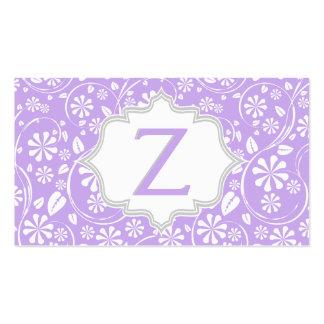 Monograma blanco, gris púrpura elegante del tarjetas de visita