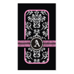 Monograma blanco negro de la banda del rosa del da plantillas de tarjetas de visita