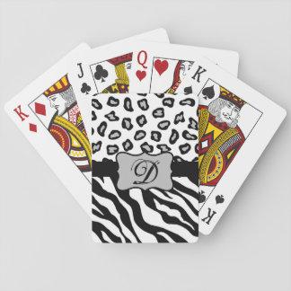 Monograma blanco negro de la piel del leopardo de barajas de cartas
