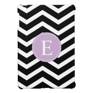 Monograma blanco negro de la púrpura de Chevron iPad Mini Carcasas