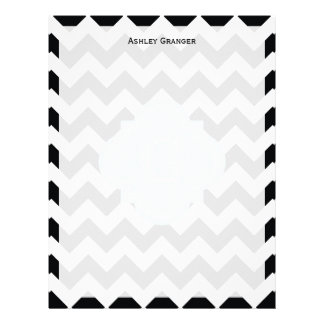 Monograma blanco negro de la turquesa del zigzag membretes personalizados