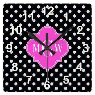 Monograma blanco negro de Quatrefoil 3 de las Reloj Cuadrado