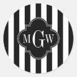 Monograma blanco negro de Quatrefoil 3 del negro d Pegatina Redonda
