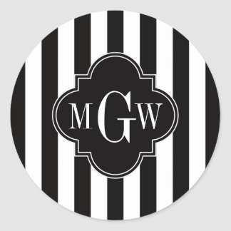 Monograma blanco negro de Quatrefoil 3 del negro Pegatina Redonda