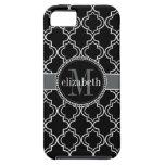 Monograma blanco negro de Quatrefoil del marroquí iPhone 5 Funda