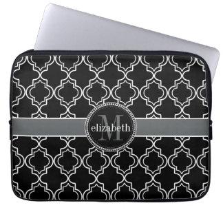 Monograma blanco negro de Quatrefoil del marroquí Mangas Computadora
