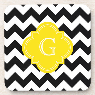 Monograma blanco negro del amarillo del zigzag de posavasos de bebida
