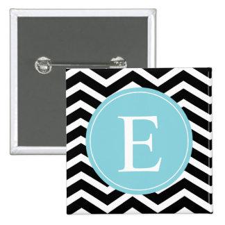 Monograma blanco negro del azul de Chevron Pin