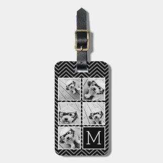 Monograma blanco negro del collage de la foto de etiqueta de equipaje