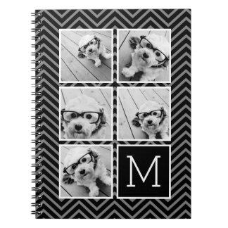Monograma blanco negro del collage de la foto de libro de apuntes con espiral