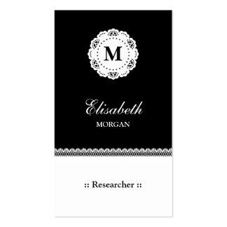 Monograma blanco negro del cordón del investigador tarjetas de visita