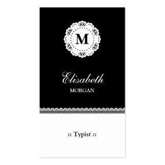 Monograma blanco negro del cordón del mecanógrafo tarjetas de visita