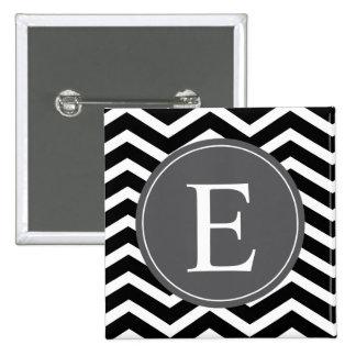 Monograma blanco negro del gris de Chevron Pin