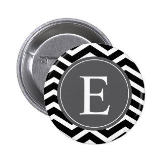 Monograma blanco negro del gris de Chevron Pins