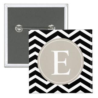 Monograma blanco negro del moreno de Chevron Pin