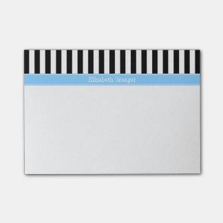Monograma blanco negro del nombre del azul de post-it® nota