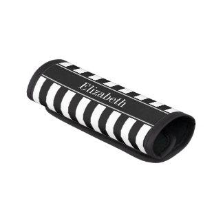 Monograma blanco negro del nombre del negro de la cobertura para asa de maleta