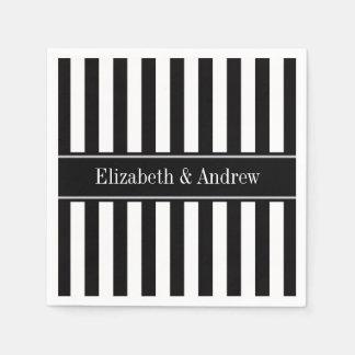 Monograma blanco negro del nombre del negro de la servilletas de papel