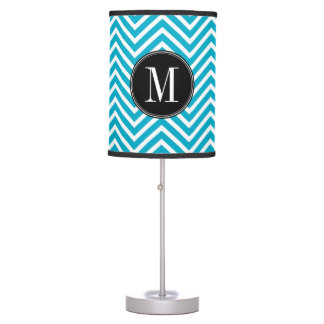 Monograma blanco negro del personalizado del model lámpara de mesa