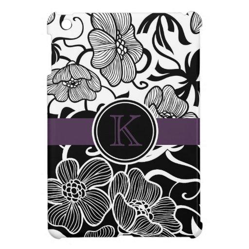 Monograma blanco negro elegante de la púrpura del  iPad mini funda