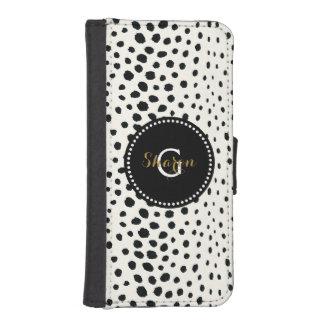 Monograma blanco negro elegante del modelo de la fundas tipo billetera para iPhone 5